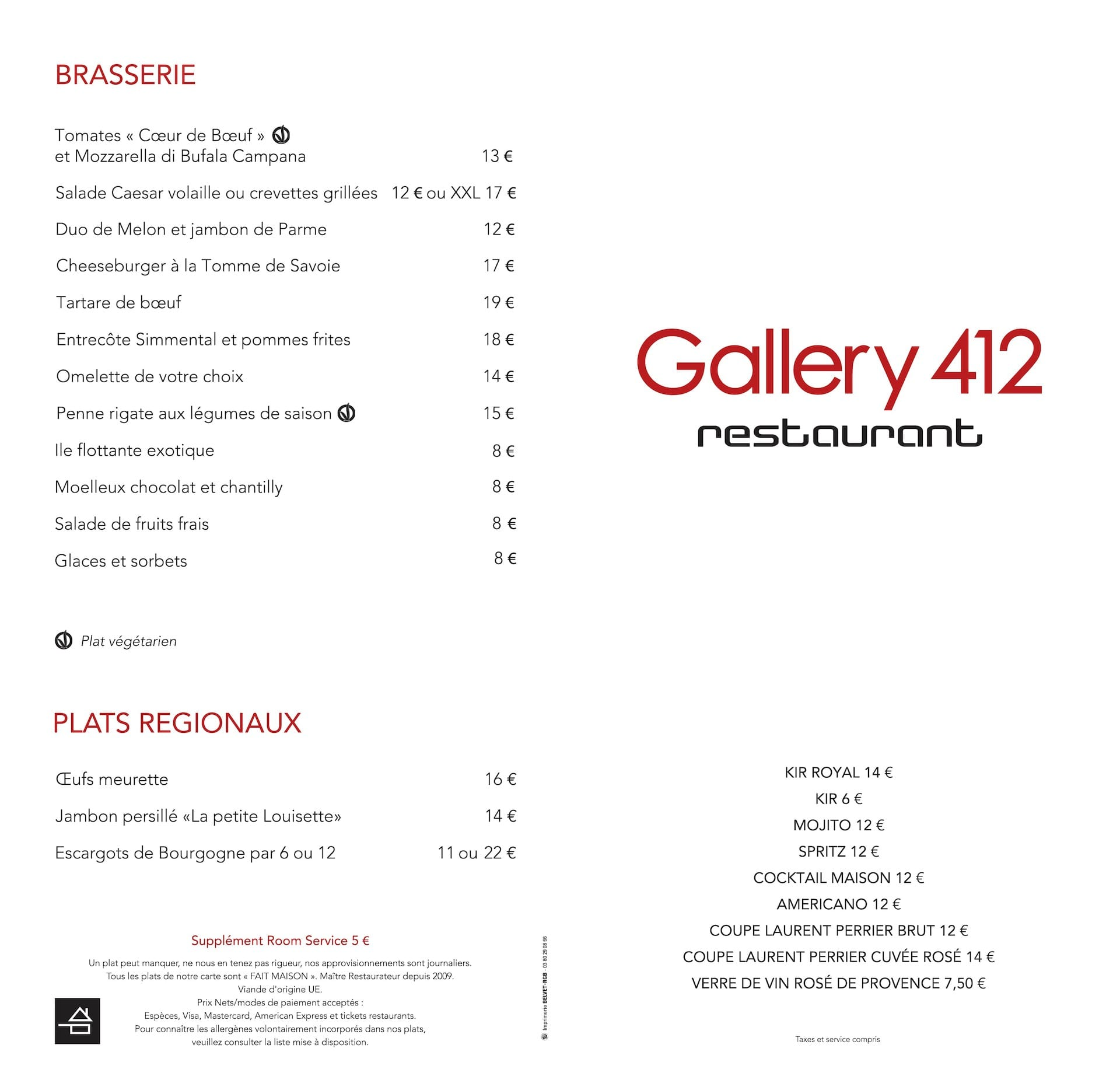 Menu du restaurant Gallery 412